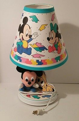 Vintage Disney Stuffed Fabric Baby Mickey Mouse Nursery Lamp W/Lamp Shade