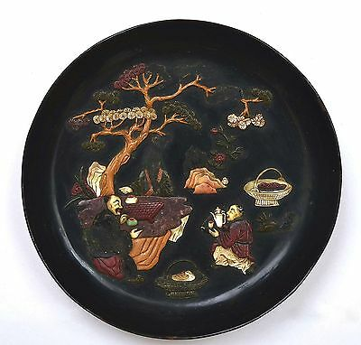 18C Chinese Black Lacquer Mother of Pearl Soapstone Carved Inlay Dish Plate