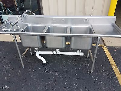 """91""""x27"""" 3 Bin Sink with Two Sideboards, drains, and Sprayer"""