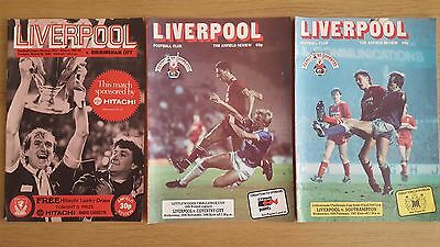 Liverpool Home Football Prorammes. 3 League & League Cup. 1980/81 & 1986/87