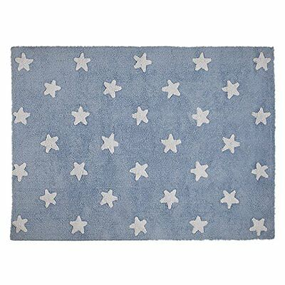 Lorena Canals C-A-SW Blue Stars White Washable Rug, Blu (T8d)