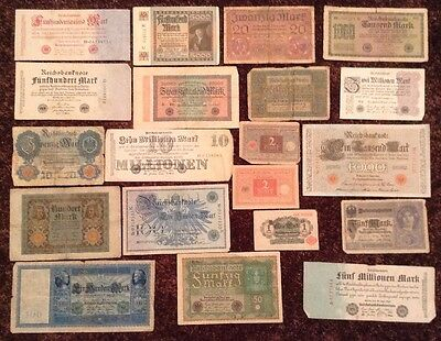Lot Of 20 X German Banknotes. Vintage Collection. All Different.