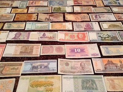 Assortment Of 50 X World Banknotes. Every Note Different.
