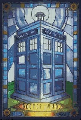 Dr Who Tardis Stained Glass Cross Stitch Chart