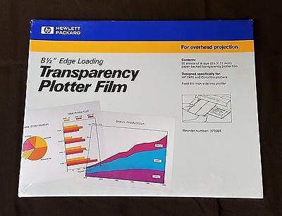 "SEALED HP 8.5""x11"" TRANSPARENCY PLOTTER FILM 8.5"" EDGE LOADING 50 SHEETS 17700T"