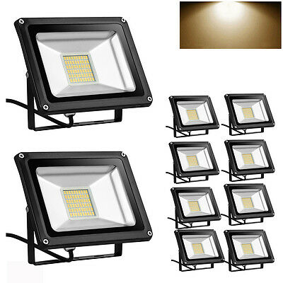 10X 30W LED Floodlight High Power Warm White 2800-3200K Outdoor Security Lights