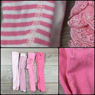 NEXT M&S baby Girls Pink Tights Bundle New And Excellent Cond 6-12 M 6-9-12