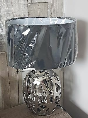Geometric Cut Out Chrome Silver  Bedside Lounge Table Lamp  New