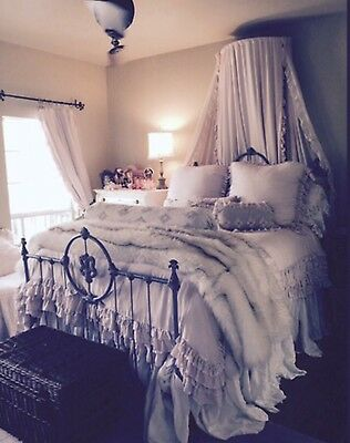 ANTIQUE VICTORIAN IRON BED - SHABBY,COTTAGE BLUE, QUEEN, HEAVY, SOLID, Very RARE