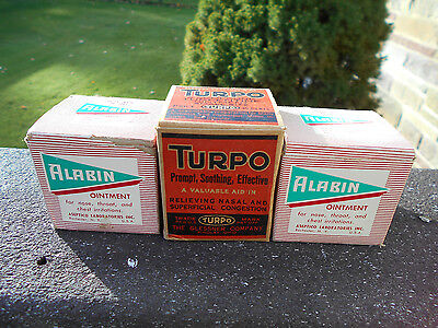 3 vintage ointment glass jars w/original boxes - Turpo, Alabin - medicine