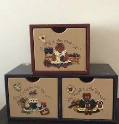 Handpainted Rustic Storage Set of Drawers Collectable Sewing Quilting Home Decor