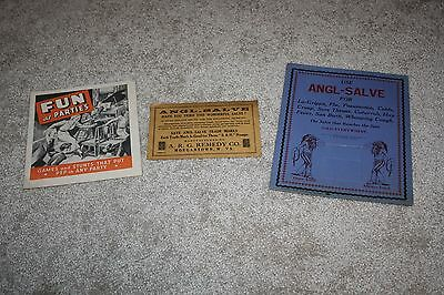 Antique Vintage Lot Angl-Salve Alka Seltzer Advertising Store Display Signs Book