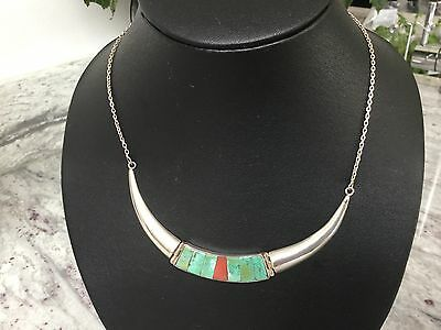 Solid silver turquoise and coral choker necklace 24 grams