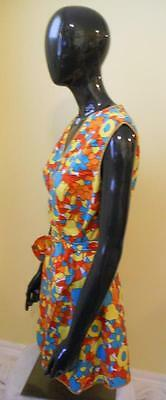 Vintage Full Wrap Over/Wrap Front Apron Bright Floral & Fruit Pattern ~ Medium