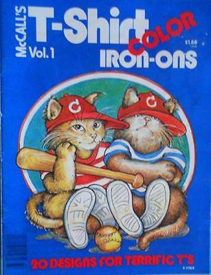 McCALL'S Vol. 1. COLOR T-SHIRT IRON-ONS 20 Designs for Terrific T's ~1977 UNUSED