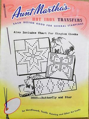 Vintage Aunt Martha's Iron-On Transfers 3555 ~ BUTTERFLY AND STAR ~ UNCUT
