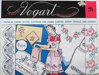 Vogart Transfer 298 Cross Stitch Patterns for Cases, Cloths, Guest Towels Aprons