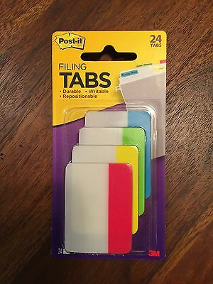 """Post-it Note Filing Tabs 3M, Writable &Repositionable 2""""x 1.5"""" (4 colors,Qty 24)"""