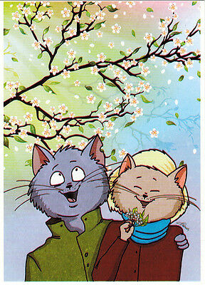 CATS ARE IN MARCH MOOD Modern Russian card