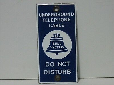 Vintage Porcelain Underground Telephone Cable Bell Systems Do Not Disturb Sign