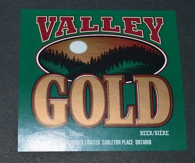 Beer label Valley Gold Beer Hart Breweries Carlton Place Canada