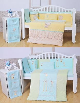 Cotton Baby Bedding Crib Cot Sheet Set - Baby Cot Bumper Fitted Sheet 4 pieces