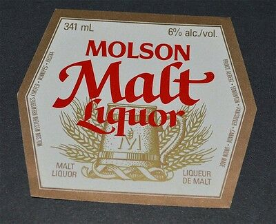 Beer label Molson Malt Liquor Molson Western Breweries Canada