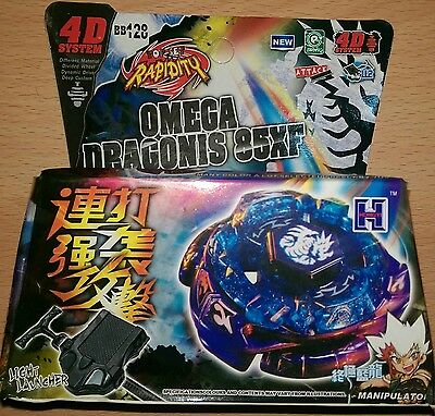 Beyblade Metal Fusion 4D System + Launcher Rapidity BB-128 Omega Dragonis UK