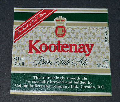 Beer label Kootenay Pale Ale Columbia Brewing BC  Canada