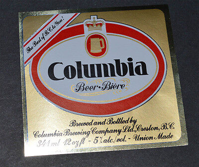 Beer label Columbia Beer Interior Breweries Creston BC Canada