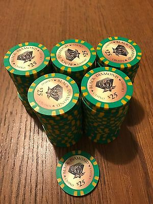100 Black Diamond Poker Chips Florida Casino Cruise Chips ($25 Chips)