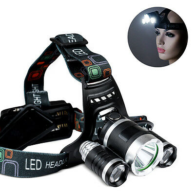 12000LM 3 CREE T6 LED Head Lamp Torch Light Zoomable Rechargeable Outdoor Camp