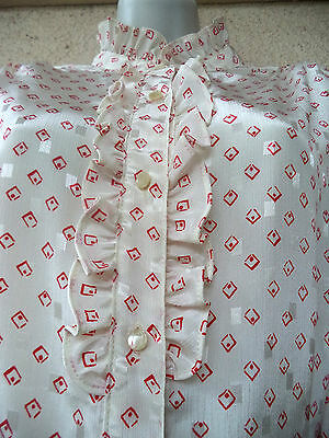 Vintage 70s Victorian Style BLOUSE High Neck Ruffled Collar Ascot Jabot Shiny L