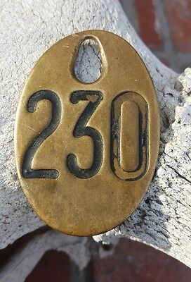 Vintage Heavy Brass Cow Cattle Tags Double Sided Farm Marker