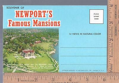 1968 Unused post card SOUVENIR FOLDER NEWPORT RI FAMOUS MANSIONS