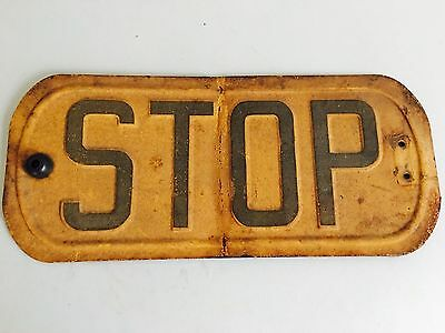 Vintage Stop Sign Bus Railroad? Metal Double Sided 19""