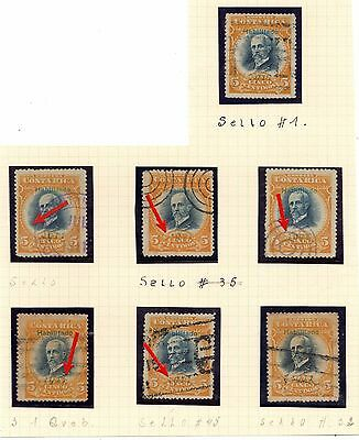 Costa Rica 1911 5cts perf 14x14 used - different VARIETIES