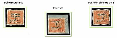 Costa Rica 1911 5cts / period in the center - INVERTED & DOUBLE surcharge