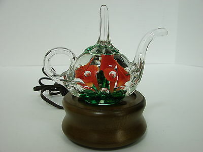 St Clair Glass Teapot W/trumpet Flower Paperweight Ring Holder Wood Lighted Base