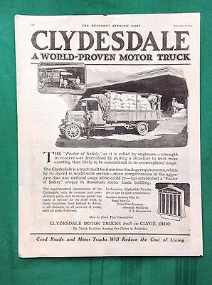 1919 Lot Vintage Automobile Magazine Ads ~ Clydesdale Motor Trucks ~ Clyde OH