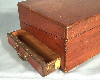 ANTIQUE EARLY 19th CENTURY MAHOGANY FOLDING TRAVELING LAP DESK WITH SIDE DRAWER