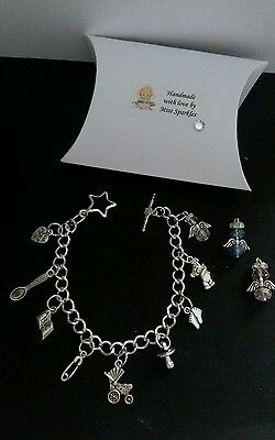 MUM to be / NEW MUM charm bracelet + crystal angel + gift box BABY SHOWER GIFT