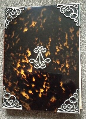 Antique 19th Century Faux Tortoiseshell & Silver Large Stationery Cover