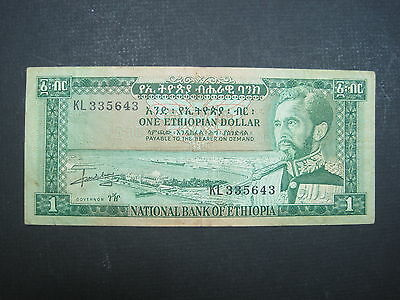 Ethiopia 1 Dollar 1966 P25 #e Haile Selassie Africa World Banknote Paper Money