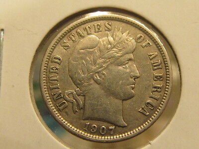 Scarce AU+ 1907 Barber dime ... very nice coin ( cmah )