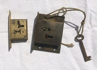 Vintage Superior Hand Made Brass Cabinet Lock Drawer Lock & Key Plus 1 Other