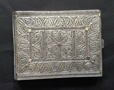 Antique Middle Eastern Solid Silver Filigree Cigarette Case.