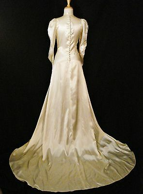 Art Deco Wedding Dress Vintage 1930s Satin Ivory Glam Gatsby Gown with Train S