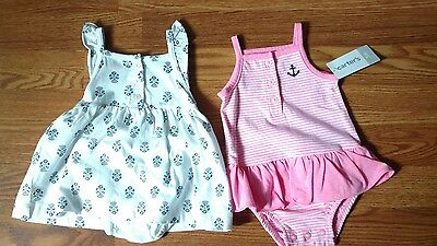 Girls Carter's bodysuit and dress lot size 3 mo NWT's