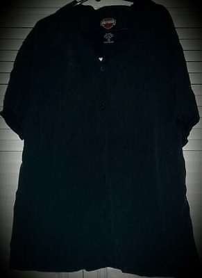 Harley-Davidson Ladies S/s Silk Shirt Size 10 Black With Logo On Back Preowned